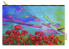 Red Poppy Flower Field, Impressionist Floral, Palette Knife Artwork Carry-all Pouch