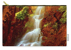 Carry-all Pouch featuring the painting Red River Falls by Peter Piatt