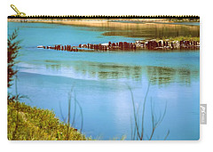Carry-all Pouch featuring the photograph Red River Crossing Old Bridge by Diana Mary Sharpton