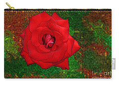 Carry-all Pouch featuring the photograph Red Rose 2 by Jean Bernard Roussilhe