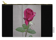 Red Rose In Rain Carry-all Pouch