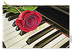 Red Rose On A Piano  Carry-all Pouch