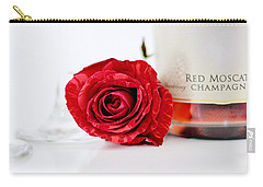 Red Rose With Champagne Carry-all Pouch by Serena King