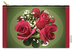 Carry-all Pouch featuring the digital art Red Roses And Baby's Breath Bouquet by Sonya Nancy Capling-Bacle