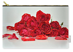 Red Roses And Rose Petals Carry-all Pouch by Serena King