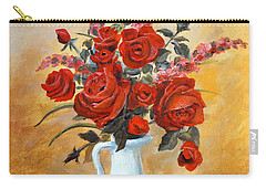 Carry-all Pouch featuring the painting Red Roses In A White Pitcher by Alan Lakin