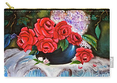 Carry-all Pouch featuring the painting Red Roses by Jenny Lee