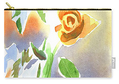Carry-all Pouch featuring the painting Red Roses With Holly In A Vase by Kip DeVore