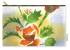 Carry-all Pouch featuring the painting Red Roses With Holly by Kip DeVore