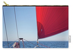 Carry-all Pouch featuring the photograph Red Sail On A Catamaran by Clare Bambers