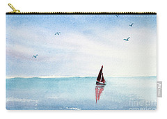 Red Sails On A Blue Sea Carry-all Pouch