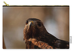 Carry-all Pouch featuring the photograph Red Shouldered Hawk Close Up by Chris Flees