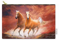 Carry-all Pouch featuring the painting Red Sky Run by Melinda Hughes-Berland