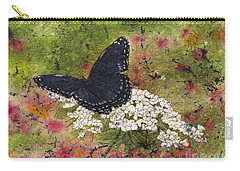 Red Spotted Purple Butterfly Queen Annes Lace Batik Carry-all Pouch