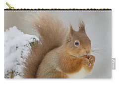 Red Squirrel In The Snow Side On Carry-all Pouch