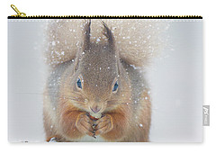 Red Squirrel Nibbles A Nut In The Snow Carry-all Pouch