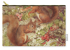 Red Squirrels Gathering Fruits And Nuts Carry-all Pouch