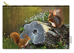 Carry-all Pouch featuring the digital art Red Squirrels by Thanh Thuy Nguyen