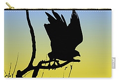 Red-tailed Hawk Taking Flight Silhouette At Sunrise Carry-all Pouch