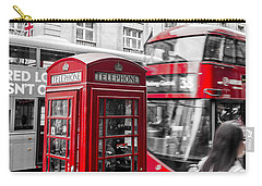 Red Telephone Box With Red Bus In London Carry-all Pouch