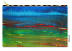Carry-all Pouch featuring the painting Red Tide Abstract by Jani Freimann