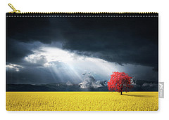 Red Tree On Canola Meadow Carry-all Pouch