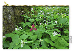 Red Trillium At Center Carry-all Pouch by Alan Lenk
