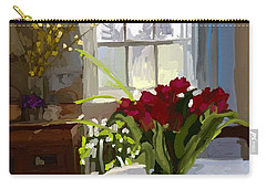 Red Tulips And Forsythia In East Gloucester, Ma Dining Room Carry-all Pouch