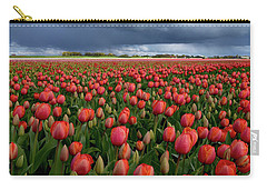 Red Tulips Field Carry-all Pouch by Mihaela Pater
