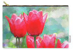 Carry-all Pouch featuring the photograph Red Tulips Flowers In Spring Time by Jennie Marie Schell