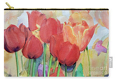 Watercolor Of Blooming Red Tulips In Spring Carry-all Pouch