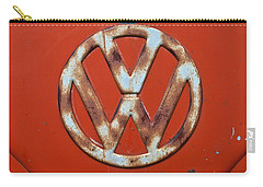 Carry-all Pouch featuring the photograph Red Vw Bus Emblem by Jani Freimann