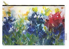 Red White And Bluebonnets Watercolor Painting By Kmcelwaine Carry-all Pouch