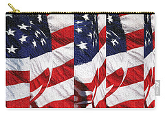 Red White Blue - American Stars And Stripes Collage Carry-all Pouch