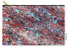 Carry-all Pouch featuring the painting Red White Blue And Black Drip Abstract by Genevieve Esson