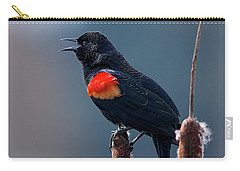 Carry-all Pouch featuring the photograph Red-winged Blackbird Singing by Sharon Talson