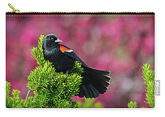 Red Winged Blackbird With Crabapple Blossoms Carry-all Pouch