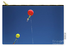 Carry-all Pouch featuring the photograph Red,yellow Balloon Blowing By The Wind In The Air With The Blue  by Jingjits Photography