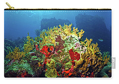 Reef Scene With Divers Bubbles Carry-all Pouch
