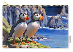 Horned Puffins - Coastal Decor - Alaska Landscape - Ocean Birds - Shorebirds Carry-all Pouch