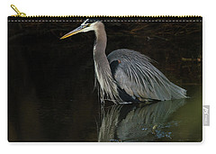Carry-all Pouch featuring the photograph Reflection Of A Heron by George Randy Bass