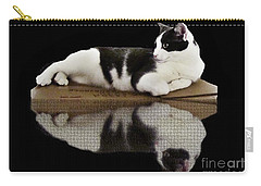 Carry-all Pouch featuring the photograph Reflection Of Black And White Cat by Janette Boyd