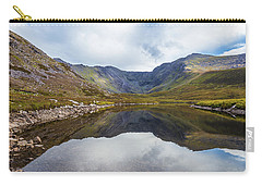 Carry-all Pouch featuring the photograph Reflection Of Macgillycuddy's Reeks And Carrauntoohil In Lough E by Semmick Photo