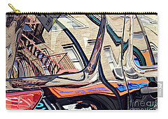 Carry-all Pouch featuring the photograph Reflection On A Parked Car 18 by Sarah Loft