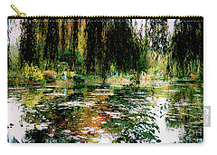 Carry-all Pouch featuring the photograph Reflection On Oscar - Claude Monet's Garden Pond by D Davila