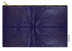 Carry-all Pouch featuring the photograph Reflection On Trees In The Dark by Joy Nichols