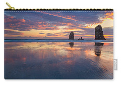 Carry-all Pouch featuring the photograph Reflections At Cannon Beach by Patricia Davidson