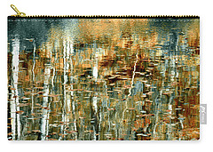 Carry-all Pouch featuring the photograph Reflections In Teal by Ann Bridges