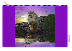 Reflections Of A Squirrel Monkey Carry-all Pouch by Rob Sellers