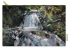 Carry-all Pouch featuring the painting Refreshed - Rainforest Waterfall Impressionistic Painting by Karen Whitworth